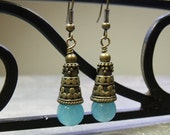 Sea Blue Dyed Jade Earrings with Donation to Coonhound Rescue and EFA COTM