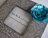 RESERVED FOR KELLEYG2006 grey damask picture frame with satin teal flower
