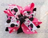 Minnie Mouse inspired hair bow...Pink, Black and White Boutique Hair Bow with Mickey button embellishment