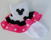 Pink and Black MINNIE Inspired Boutique Ribbon Ruffle Socks with cute Mickey Button Embellishment