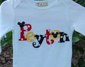 Custom Personalized Name Shirt or Onesie with Mouse Head Buttons...BOYS or GIRLS Applique Shirt