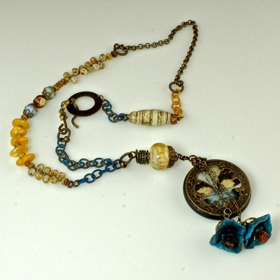 Liquid Amber, Blue and Amber Yellow, OOAk, Artisan Necklace as seen in Bead Trends