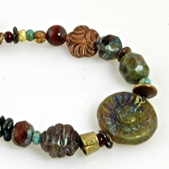 Indian Summer Forests Colors Glass and Copper Bracelet