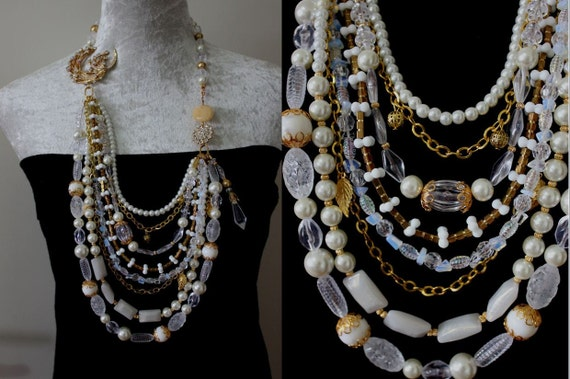 Statement Gold and Pearl Long Multistrand Necklace with Crystal Rhinestone Flowers, Asymmetrical Necklace, Statement Necklace