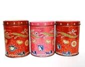Three Vintage Folk Art Tins