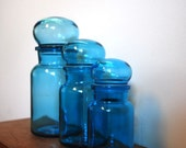 SET of Vintage Blue Glass Apothecary Storage Jars, Turquoise