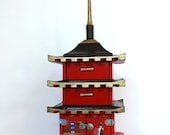 Vintage Jewelry and Music Box Pagoda, Japanese, Chinoiserie, Hollywood Regency