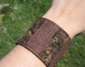 Fabric Cuff Bracelet Batik and Brown