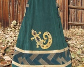 ON HOLD---Corduroy Patchwork Skirt Lizard