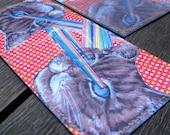 Handmade Billfold Vinyl Art Wallet - Lasercat Pride - Plasma Red