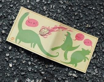 Handmade Vinyl Art Billfold Wallet - Dinoclasm by Mikeatron