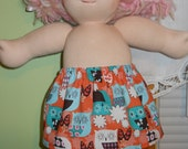 Owls in Aqua and Orange Cotton Skirt - Waldorf Doll Clothes - 15 Inch Bambo Size