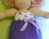 Purple Dots with Hearts Top Tube Dress - Waldorf Doll Clothes - 15 Inch Bambo Size - G