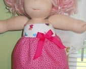 Bright Pink Dots with Hearts Top Tube Dress - Waldorf Doll Clothes - 15 Inch Bambo Size - G