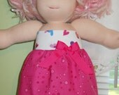 Bright Pink Bubbles with Hearts Top Tube Dress - Waldorf Doll Clothes - 15 Inch Bambo Size - G