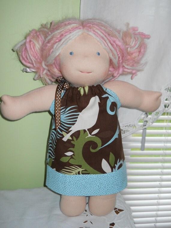 Beautiful Bird Pillowcase Dress - Waldorf Doll Clothes - 15 Inch Bamboletta Size