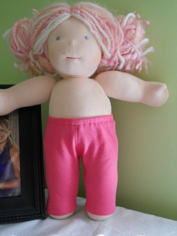 Bright Pink Leggings -  Waldorf Doll Clothes - 15 Inch Bamboletta Size BG