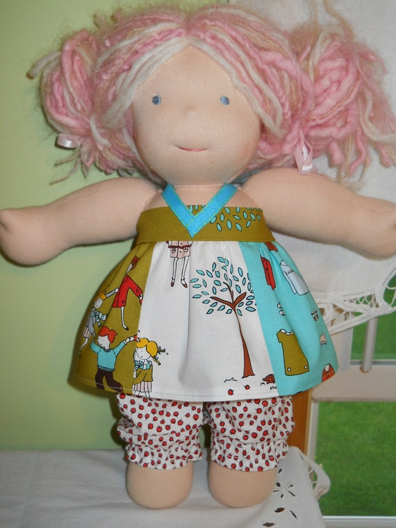 2-Pc. Little Apples Halter Top and Bloomers  - Waldorf Doll Clothes - 15 Inch Bambo Size - G