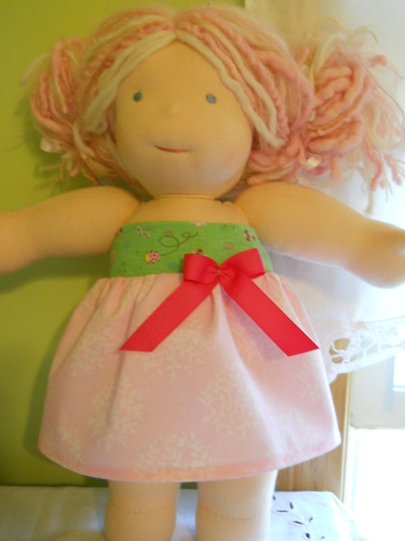 Pretty Pink with Green Ladybug Tube Dress - Waldorf Doll Clothes - 15 Inch Bambo Size - G