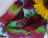 Cotton Scarf, Hand Dyed, 17X72 inches, Purple, Red, Aqua, Green, Gold, Fine Batiste Fabric, Hand Rolled Hem
