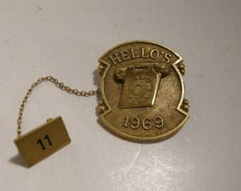 Vintage Telephone Collectible Gold Plated Telephone  Service Award Pin 1969 Telephone Collectors Lapel Pins