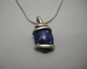 Sterling Silver Necklace Blue Lapis Pendant, Lapis Necklace, Banded Lapis Pendant, Sterling Silver Lapis Jewelry, Lapis, Artisan Necklace