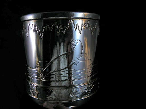 Vintage Victorian Goblet 1885 Simpson Hall and Miller Company Decorative Arctic Scene and Seal Goblet