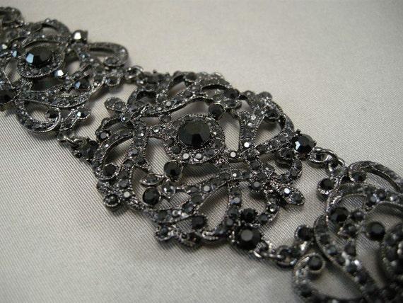 Vintage Victorian Revival Choker Necklace w/ Black Pave Set Faceted Stones