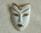 Vintage White Enamel Face Mask Brooch