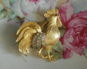Vintage Rhinestone Rooster Brooch
