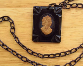 Vintage Black Bakelite Cameo Necklace with Celluliod Chain