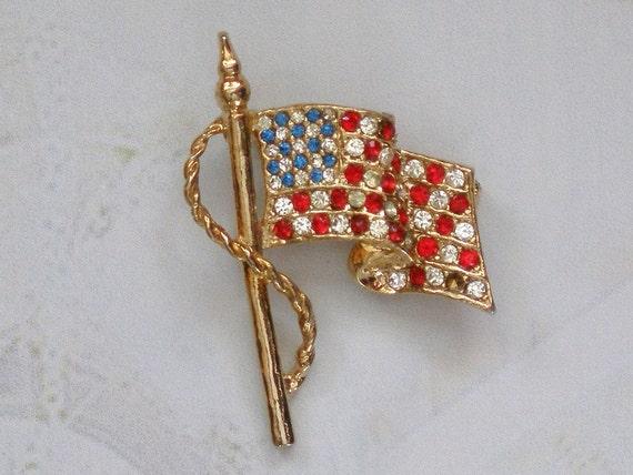Patriotic Flag Brooch with Rhinestones