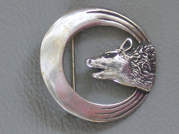 Vintage Sterling Silver Howling Wolf Head Brooch Pin
