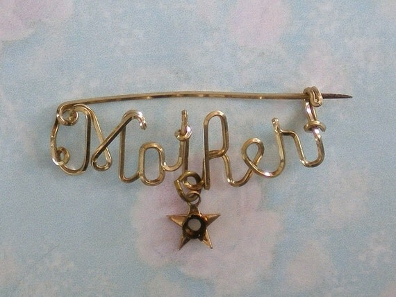 Vintage Mother Wire Script Brooch with Dangling Star