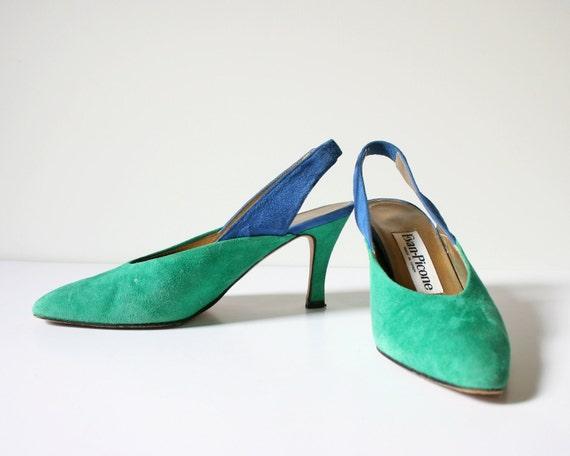 SALE -- Tropical Resort Sling Back Heels / Sz 6 / Evan Picone