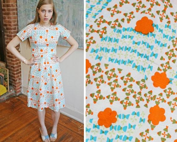 60s Bright Print Sun Dress // Size XS S