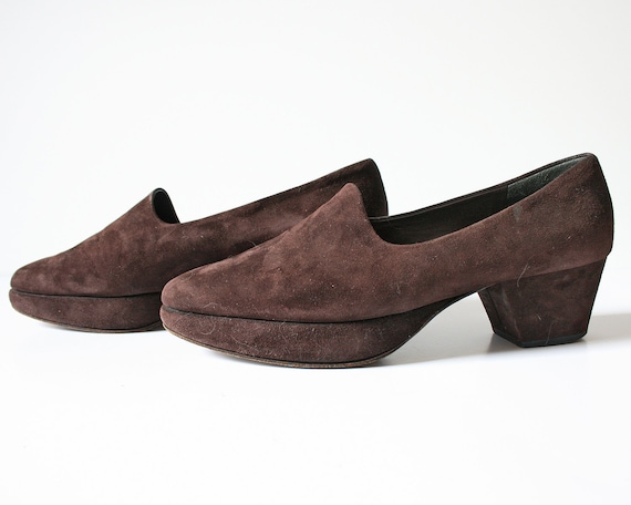 70s Suede Chunky Heels, Made in Italy // Size 7.5 7 US