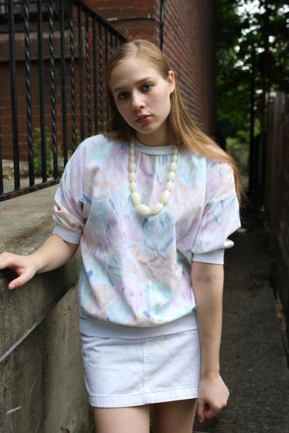 80s Abstract Pattern Pastel Top // OSFM