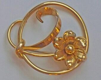 Vintage Flowered Scarf Pin or Brooch