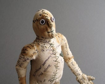 One of a Kind Doll - Stories Untold - Figurative Fabric Sculpture - OOAK