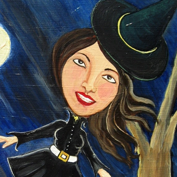 Witch in the Wind - Original Painting - Halloween Art