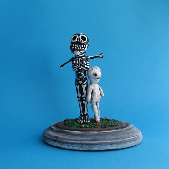Cemetery Folk - Skeleton and Mummy - Handmade Dead Figures - SpOOky - Halloween