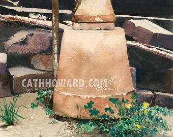Empty Pots - watercolor