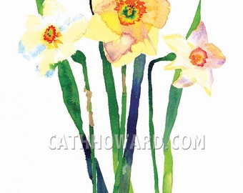 Daffodils - watercolor painting