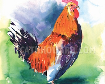 Chincoteague Rooster - watercolor painting