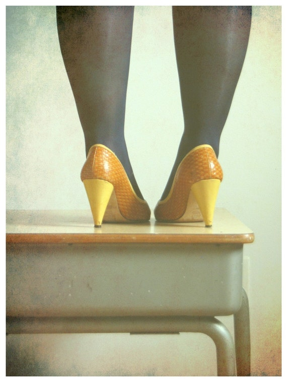 My Pretty Power Fine Art Print--Vintage Shoes Elementary School Desk Retro Photograph Wholesale