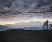 Purple Sunset Painting- Large Acrylic Art on Paper- Sky Painting- Dreamscape - 22x30- Lavender, Black, Turquoise