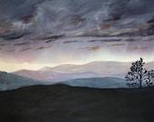Purple Sunset Print- Dusk- Dreamscape- Acrylic Sky Painting- 8x10- Fine Art - Lavender, Black, Turquoise
