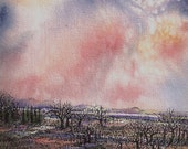 Pink Dawn Mixed Media Painting, Sunrise Clouds- Framed Matted Landscape- Pen Ink Watercolor - Ready To Hang