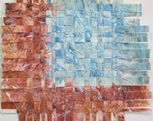 Blue Paper Weaving- Original Mixed Media Abstract- Earth and Turquoise Sky- Woven Decor
